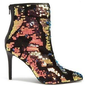 Velvet & Sequin Ankle Stiletto Boots Heels Size 9
